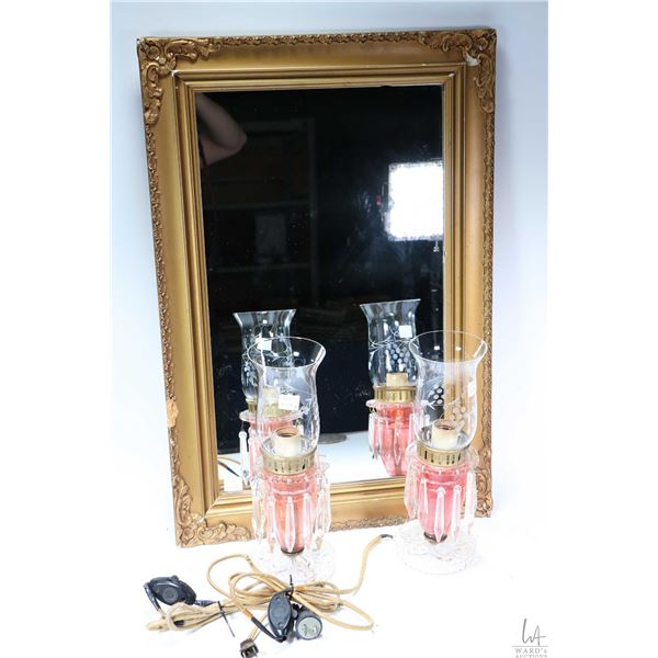 """Vintage gilt framed mirror, overall dimensions 27"""" X 18"""" plus a pair of vintage table lamps with cra"""