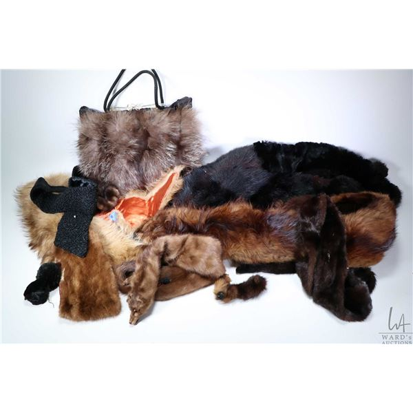 Selection of vintage fur items including a purse/ fur muff, two fur shawls, plus a selection of fur