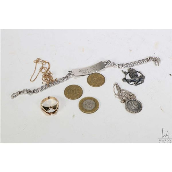 Tray lot of collectibles including sterling silver neck chain with anchor medallion, an eagle medall