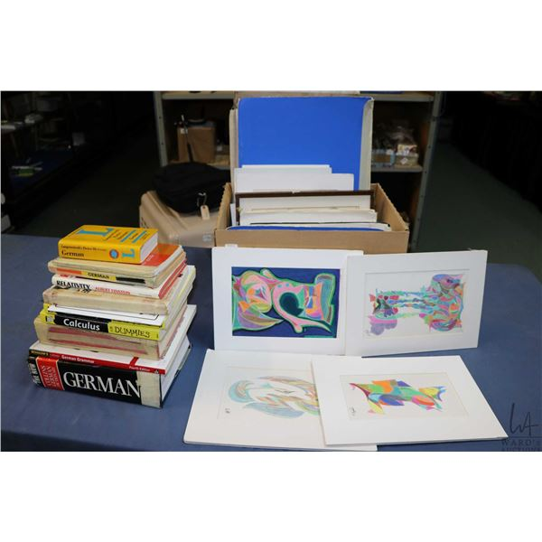 Large selection of original pencil crayon artworks plus a selection of books including German dictio