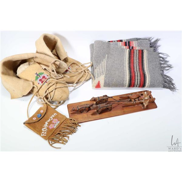 Selection of First nation?s handicrafts including a pair of beaded moccasins, two small woven blanke