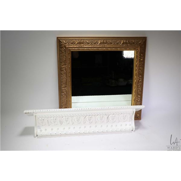 """Gilt framed mirror 19"""" X 19"""" and a 24"""" white painted wall shelf. Not Available For Shipping. Local P"""