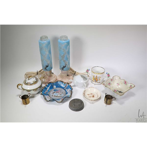 Selection of collectibles including Paragon George and Mary loving cup, Churchill pin tray, Moonland