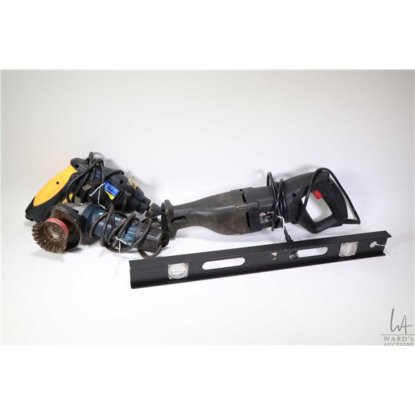 """Four electric power tools including Earthwise 16"""" chain saw, a Jobmate reciprocating saw, a Power Fi"""