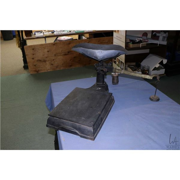 Vintage hardware store balance scale with handmade metal tray. Not Available For Shipping. Local Pic