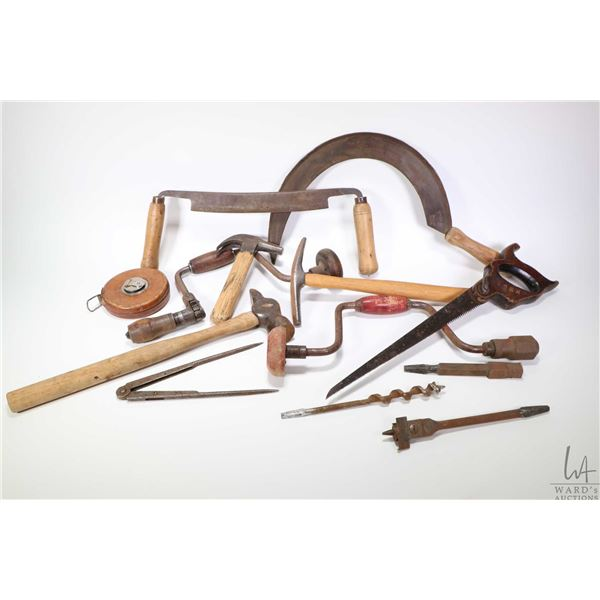 Selection of vintage tools including a Henry Boker scyth and draw knife, Sterling leather cased tape