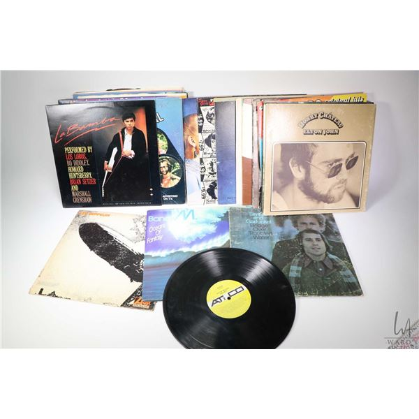Selection of vintage record albums including Bob Dylan, Down Child Blues Band, George Carlin, Led Ze