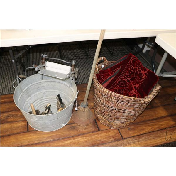 """Selection of vintage collectibles including 20"""" wide galvanized laundry pail with attached wringer,"""