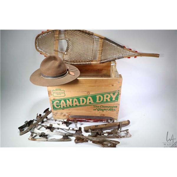 Selection of vintage collectibles including Canada Dry wooden crate, a vintage official Boy Scout ha