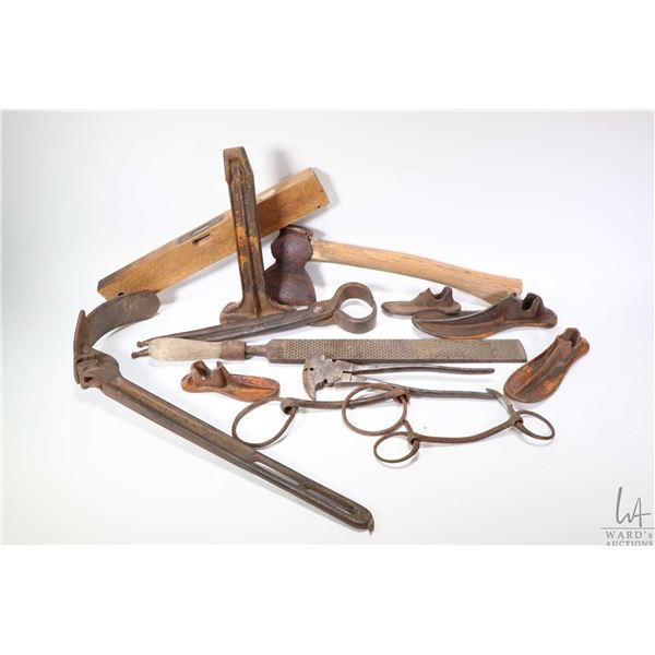 Selection of vintage tools including a pair of horse hoof clippers and file, shoe last stand and thr