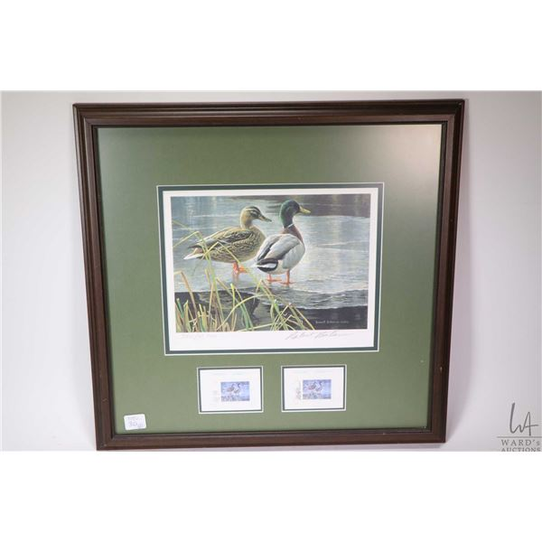 """Two framed limited edition wildlife prints with their matching postal stamps including a """"Mallard Pa"""