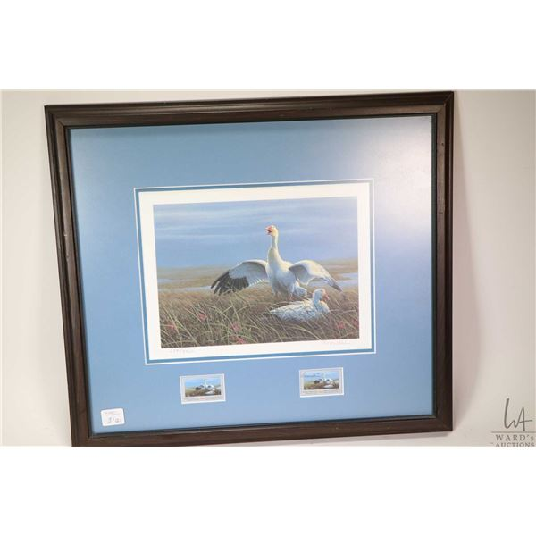 """Two framed limited edition """"Canadian Wildlife Habitat"""" prints with their matching postage stamps inc"""