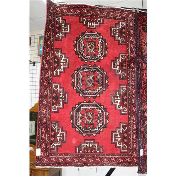 100% Iranian Ferdos area carpet with triple medallion, red background and highlights of blue, cream,