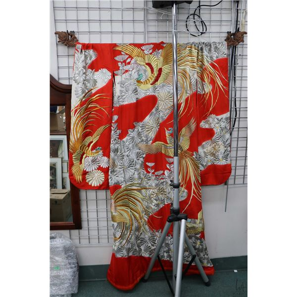 Vintage Japanese silk kimono with embroidered silver and gold chrysanthemums and phoenix