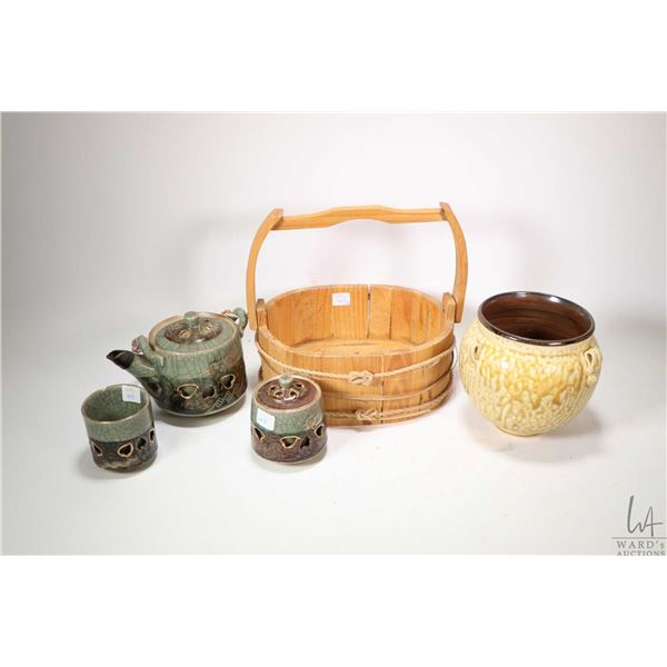 """Vintage Somayaki tea set, a 6"""" glazed pottery vase marked Doye by Young Mi Kim and a hand made woode"""