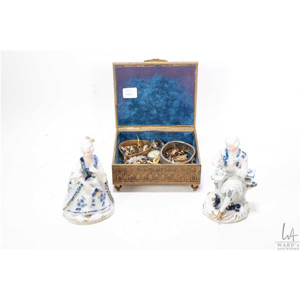 Vintage French metal jewel case and contents including collectible antique and vintage costume jewel