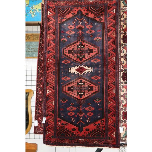 100% Iranian Zanjan area carpet with triple medallion and highlights of red, blue, cream and green,