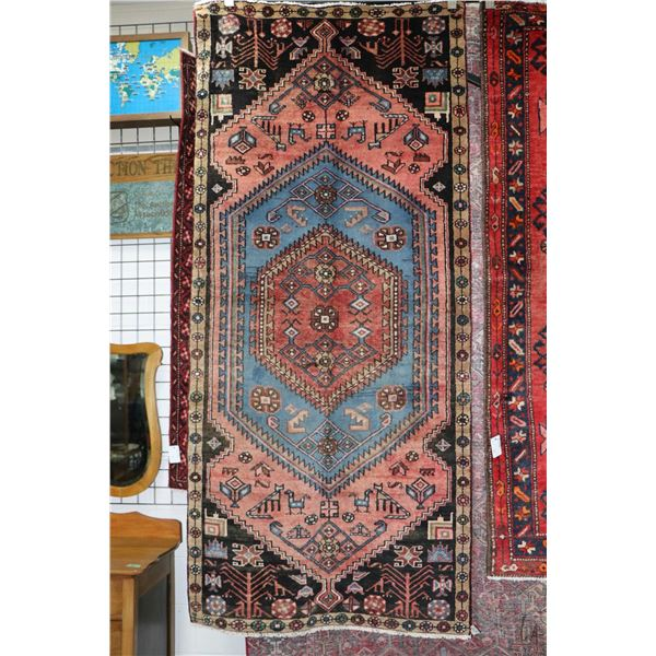 100% Iranian Zanjan area carpet with center medallion, stylized animal and floral designs and highli