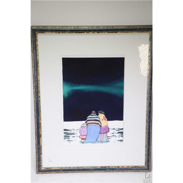 """Two Willie Wong framed pictures including an original watercolour titled on verso """"Northern Lights"""""""