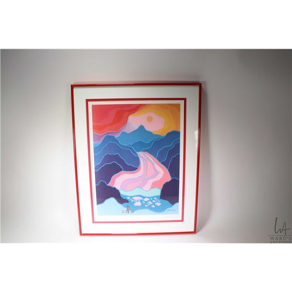 "Framed limited edition print titled ""Monty's Glacier"" pencil signed by artist Ted Harrison, 422/500."