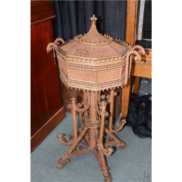 """Antique Victorian woven wicker sewing basket with button tufted silk interior, 33"""" in height. Not Av"""
