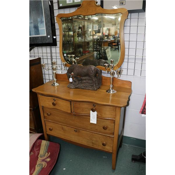 Antique maple four drawer bedroom chest with serpentine front and wood framed shield shaped bevelled