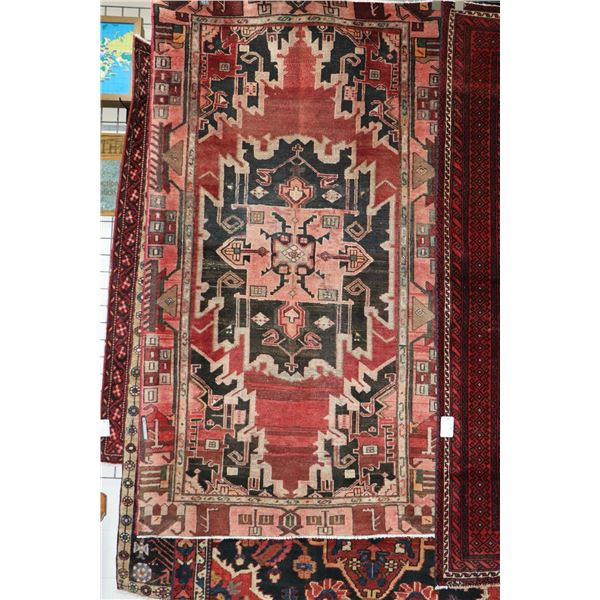 100% Iranian Zanjan area carpet with center medallion, red background and highlights in taupe, brown
