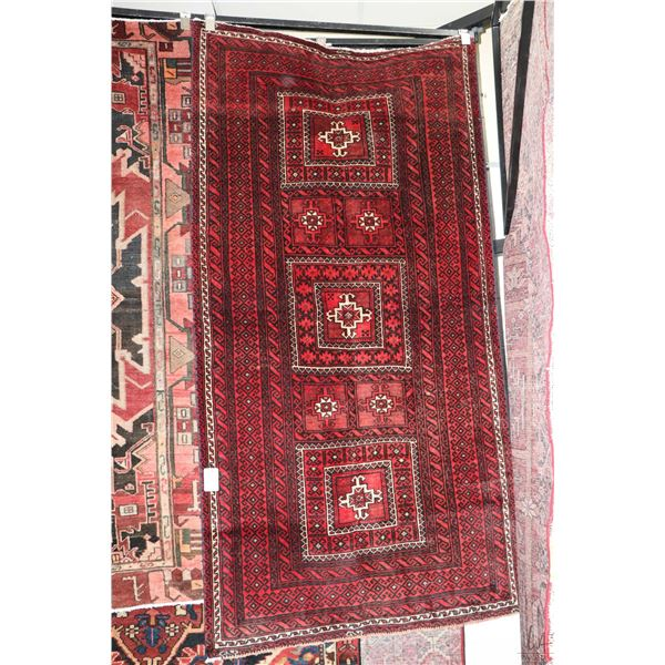 100% Iranian Baloochi area carpet with triple medallion, red background and highlights of cream and