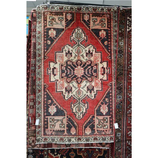 100% Iranian Mah Abad area carpet with center medallion, red background and highlights of cream, gre