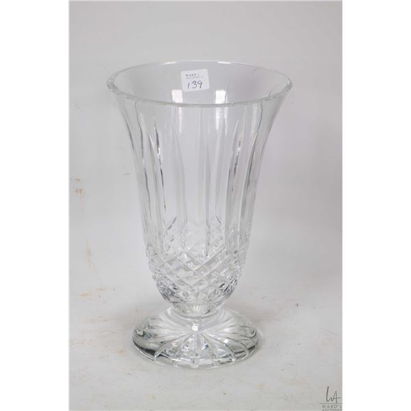 """Signed Waterford crystal flower vase 10"""" in height"""