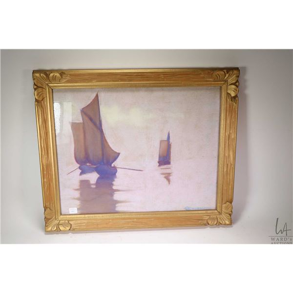 """Gilt framed original pastel painting labelled on verso """"Small English Fishing Boats in the North Sea"""