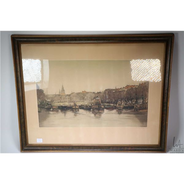 Antique hand coloured etching of a European harbour scene, pencil signed by artist, overall dimensio