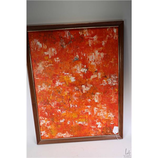 """Framed acrylic on board abstract pallet painting signed by artist G. Lane, 24"""" X 18"""". Not Available"""