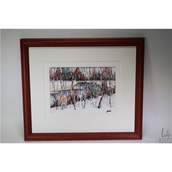 """Framed acrylic on board painting of wood creek scene, signed by artist, 8"""" X 11"""""""