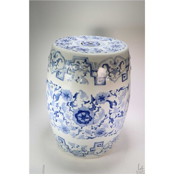 """blue and white Oriental style garden stool 19"""" in height. Not Available For Shipping. Local Pickup O"""