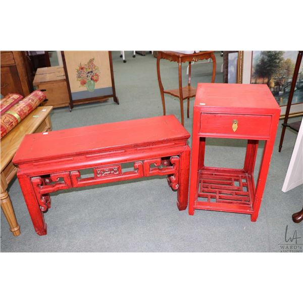Wooden Oriental style bench and matching side table with single drawer and under shelf