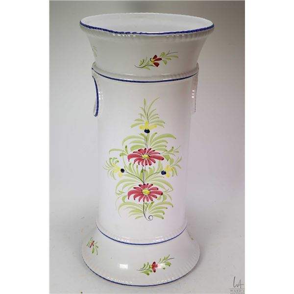 """Hand painted glazed pottery umbrella stand 19 1/2"""" in height. Not Available For Shipping. Local Pick"""