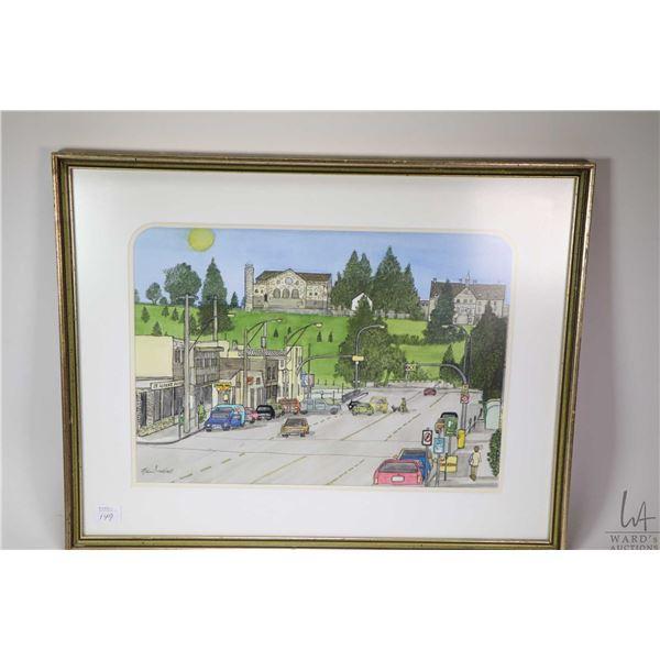 "Framed original watercolour painting of Perron Street St. Albert signed by artist Allan Nutall, 10"""