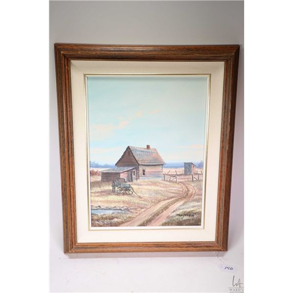 """Framed acrylic on canvas painting of a homestead with wagon signed by artist Jerry Doell, 16"""" X 12"""""""