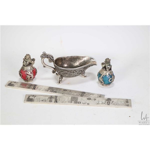 """Pair of Oriental """"Lion Stand"""" paperweights, set of """"Five Bull's scroll weights and a """"Sons of Dragon"""