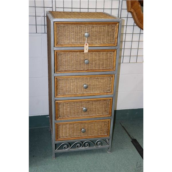 """Modern wicker and metal five drawer bedroom chest made by Pier One Imports, 48"""" in height"""