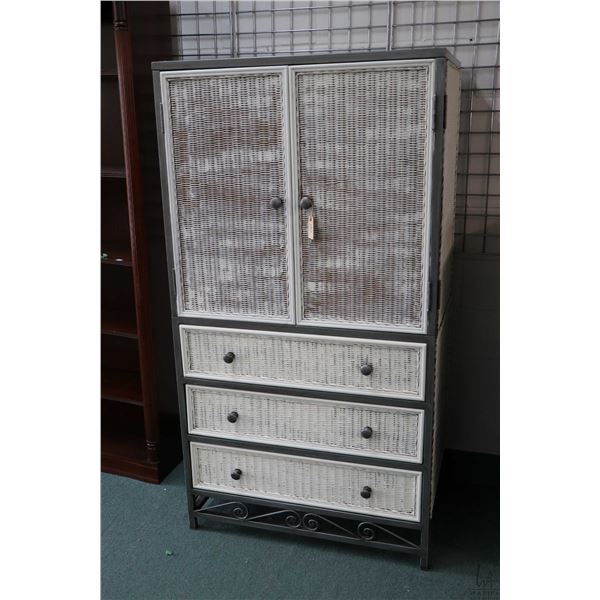 Modern wicker and metal two door, three drawer chiffarobe, appears to be quality construction includ