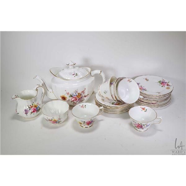 """Royal Crown Derby """"Derby Posies"""" large teapot, cream jug, open sugar bowl, six cups and saucers plus"""