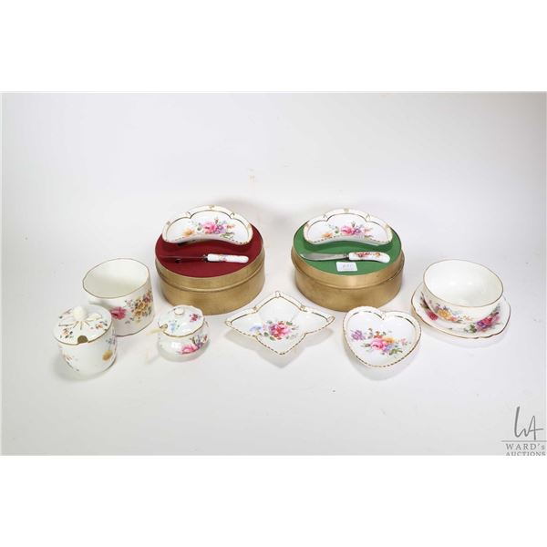 """Tray lot of Royal Crown Derby """"Derby Posies"""" including two boxed crescent dishes with spreaders, two"""