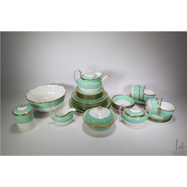 Large selection of Wedgwood green, white and gold china luncheon set including teapot, lidded sugar