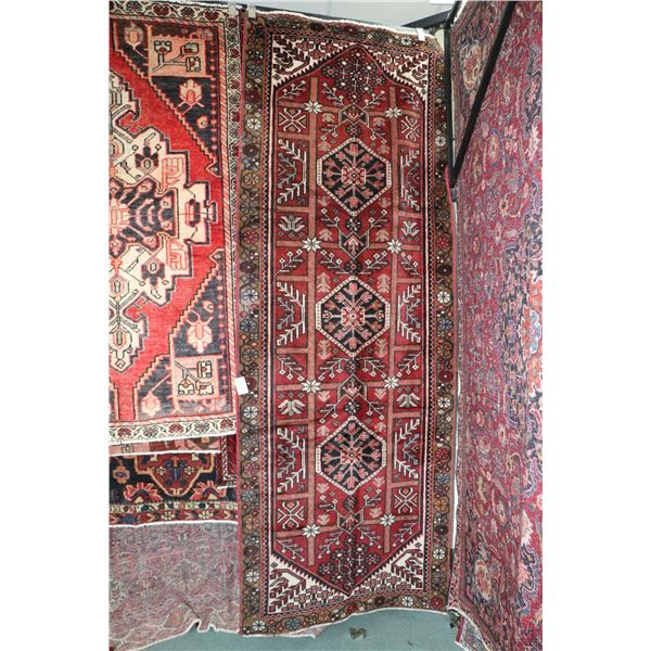 100% Iranian Saveh carpet runner with triple medallion, red background, highlights of taupe, cream,