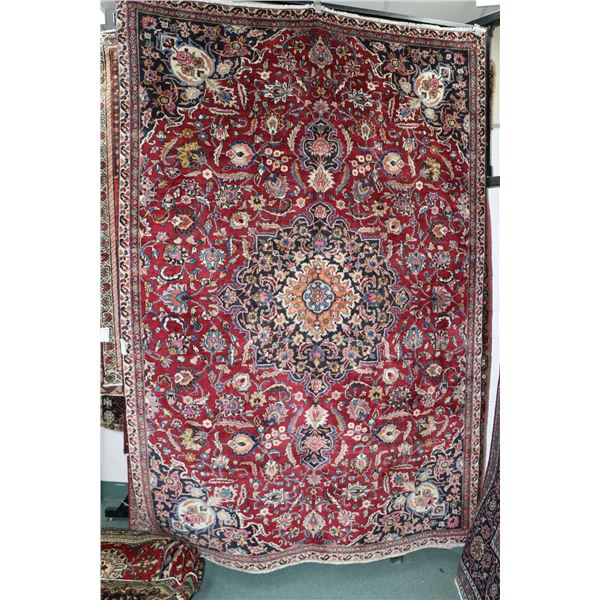 100% Iranian Mashad area carpet with center medallion, overall floral design and red background, hig