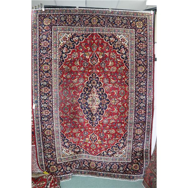 100% Iranian Najaf Abad area carpet with center medallion, overall floral design and multiple border