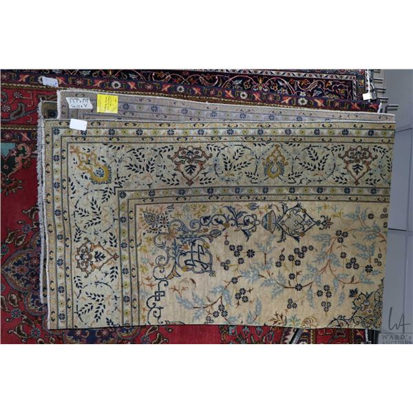100% Iranian Kashan area carpet with center medallion, overall floral design with sage background an
