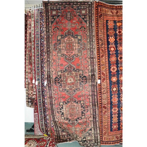 100% Iranian Zanjan carpet runner with triple medallion, red background and highlights of taupe, blu